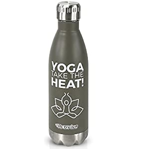17oz Yoga Water Bottle 18/8 Stainless Steel with Cooling Towel by Activiva - Leak-Proof Double Walled Vacuum Insulated BPA Free - Keeps Drinks Cold for 48 Hours or Hot for 12 Hours(Grey)