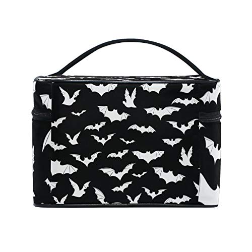 Bats Halloween Goth Cosmetic Bags Organizer- Travel Makeup Pouch Ladies Toiletry Train Case for Women Girls, CoTime Black Zipper and Flat Bottom]()
