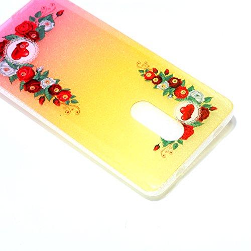 Silicona Funda Xiaomi Redmi Note 4X(con Lápiz óptico Negro),KaseHom Brillante Diamante Stylish Diseño Oro y Rojo Patrón de Combinación Caja Suave + Flexible TPU Gel Silicone Bumper Shock-Absorción Ant Rosas del Amor