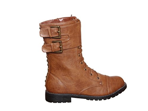 Camel Back Arch (Low Calf Ankle Strap Lace up Military Combat Boots With Metal Studs (7.5, Camel)[Apparel])