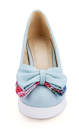 With Bow Shoes Wedge Blue Court On Aisun Cute Slip Women's Heels x8z0qg