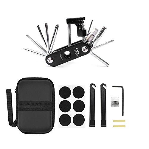 WOTOW Juego de reparación de bicicletas Ciclismo Bolsa, Bicicleta de múltiples funciones 14 en 1 Kit de herramientas de...
