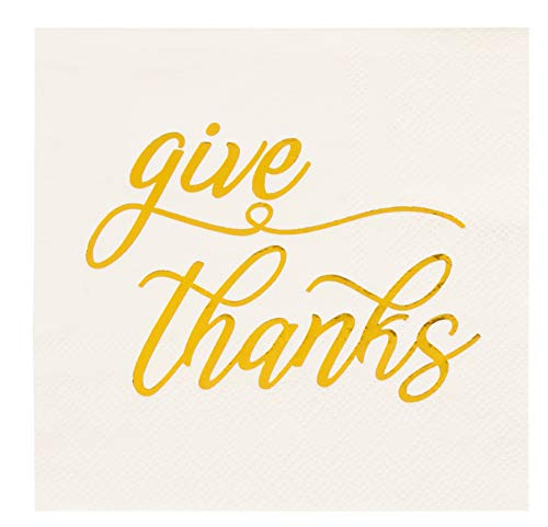 Cocktail Napkins - 50-Pack Disposable Paper Napkins, Autumn Thanksgiving Dinner Party Supplies, 3-Ply, Give Thanks in Metallic Gold Foil, White, Unfolded 10 x 10 Inches, Folded 5 x 5 Inches