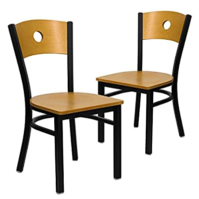 Flash Furniture 2 Pk. HERCULES Series Black Circle Back Metal Restaurant Chair - Natural Wood Back & Seat - Set of 2 Metal Dining Chairs Natural Wood Circle Back Design Natural Finished Wood Seat - kitchen-dining-room-furniture, kitchen-dining-room, kitchen-dining-room-chairs - 416Cm4h8CQL. SS400  -