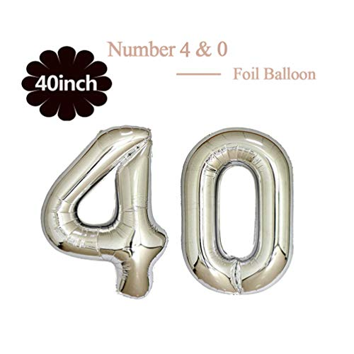 40 Inch Jumbo Silver Foil Mylar Number Balloon for Men Women 40th Birthday Party Decoration 40 Years Old Anniversary Party Supplies