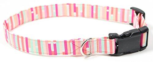 - Ruff Roxy Cotton Candy Ribbon Stripes, Pink and Mint Designer Cotton Dog Collar, Adjustable Handmade Fabric Collars (L)