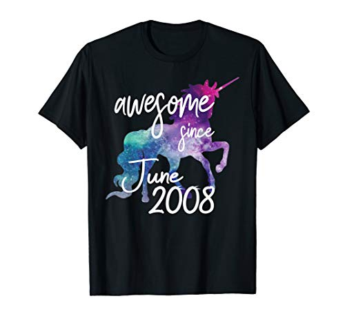 - Awesome Since June 2008 Unicorn Birthday T-Shirt