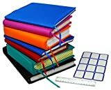 "Stretchable Jumbo Book Covers 7 Pack Individual Colors Book Suits fits Hardcover Textbooks up To 9.5"" X 14"" Durable Washable Reusable Extras Labels and Ruler: more info"