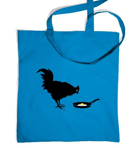 Banksy Chicken And The Egg Tote Bag - Cornflower Blue One Size Tote Bag (Chicken Egg Bag)