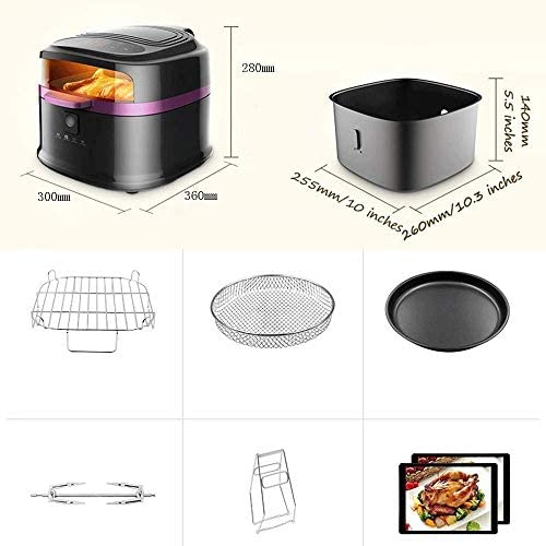 Air Fryer Accessoires Air Fryer Rotisserie functie for The Perfect Fried Voedsel Olie Programmable Air Roaster W/Cool-Touch exterieur, zichtbaar venster