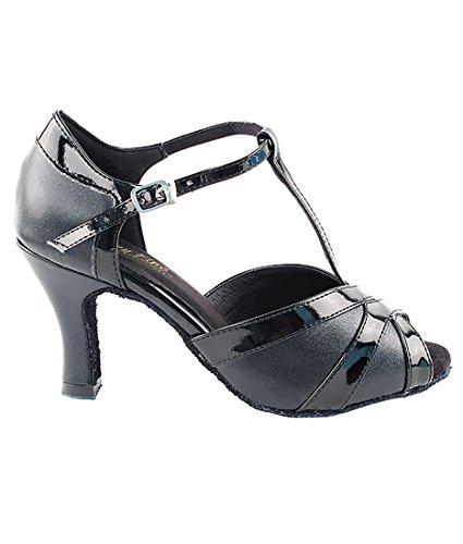 Zeer Fijne Ballroom Latin Tango Salsa Dans Schoenen Voor Vrouwen 2711 3 Inch Hiel + Opvouwbaar Borstel Bundel Zwart-zwart Lak Stuwing