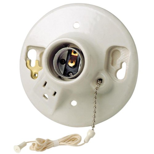 Leviton 9726-C2 One-Piece Glazed Porcelain Outlet Box Mount Incandescent Lampholder, Pull Chain, Top Wired, White (Garage Light Fixture With Outlet)