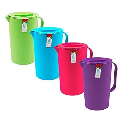 Plastic Hobbylife Jug 1Litre Capacity Pitcher Coloured Lid Water Juice Set 3 /& 2