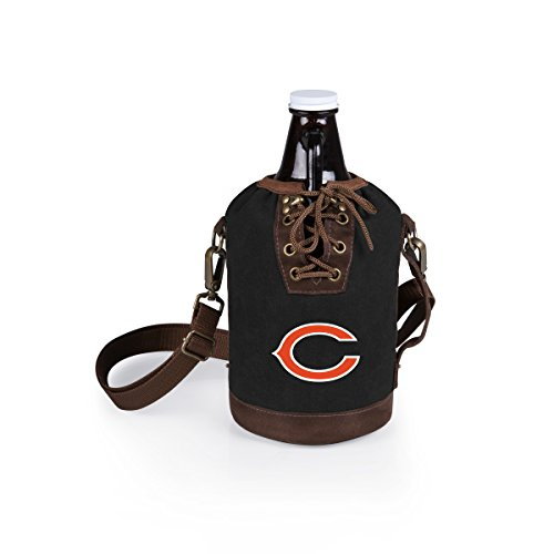 PICNIC TIME NFL Chicago Bears Canvas Lace-up Growler Tote with 64 oz Amber Glass Growler, Black