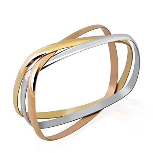 Stainless Steel Tri-color Set of 3 Silver/Rose Gold/Gold-Tone Square Design Bangle Bracelets for Women