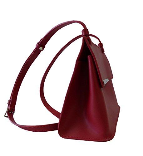 Lancaster Tasche Lily 437-30-Rouge Damen Ledertasche Schultertasche Umhängetasche Rot (23x18x9cm)