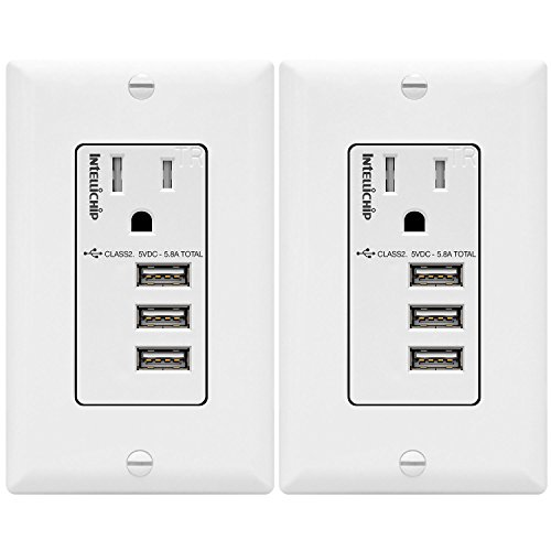 TOPGREENER 5.8A Ultra High Speed 3-Port USB Charger Outlet, 15A Tamper-Resistant Receptacle, Compatible with iPhone X/XS/XR, Samsung Note9/S9 & other smartphones, TU11558A3-2PCS, White 2-Pack