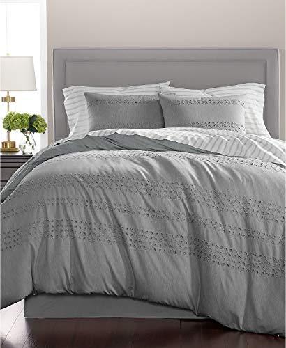 - Martha Stewart Collection Eyelet Stripe 100% Cotton 8 Piece King Comforter Set Slate