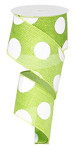 Giant Multi Dots Faux Burlap Wired Edge Ribbon - 2.5 Inch x 10 yards (Lime Green, White) : RG0120033 ()