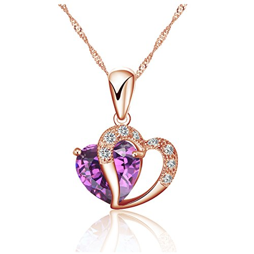925 Silver Necklace Adjustable Chain and Heart Pendant in Rose Gold tone – Handmade with Sparkling Double Heart Silver and Purple Crystal clear Pendant in various stunning - Purple Singapore Gold