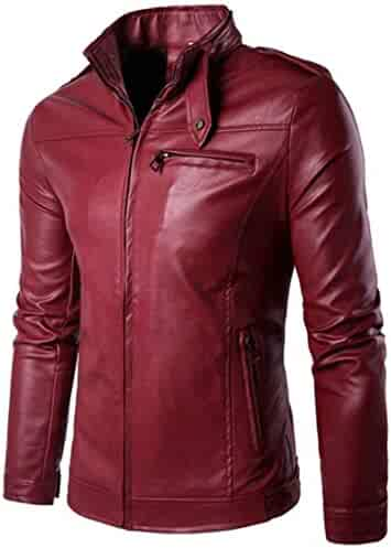 GodeyesMen Turn-Down Collar Slim Fit Pure Color Oblique Zipper Faux Leather Coat