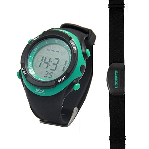 UDOARTS Heart Rate Monitor with Chest Strap 2, Pack of 5 Batteries and Screwdriver, Black/Green Nature