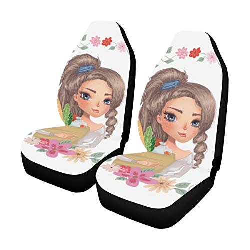- Elegant Lady with Beautiful Flower Custom New Universal Fit Auto Drive Car Seat Covers Protector for Women Automobile Jeep Truck SUV Vehicle Full Set Accessories for Adult Baby (Set of 2 Front)