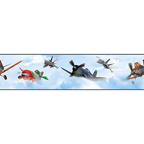 York Wallcoverings DS7718BD Walt Disney Kids II Planes In The Clouds Border, Light/Medium/And Dark Blue/White/Yellow/Red/Green/Black (Wallpaper Border Cloud)