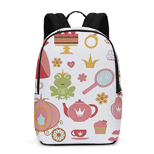 (Kids Decor Durable Backpack,Princess Tiara Tea Party Mirror Teapot Tea Party Frog Crown Fairy Cupcake Girls Decorative for School Travel,One_Size)