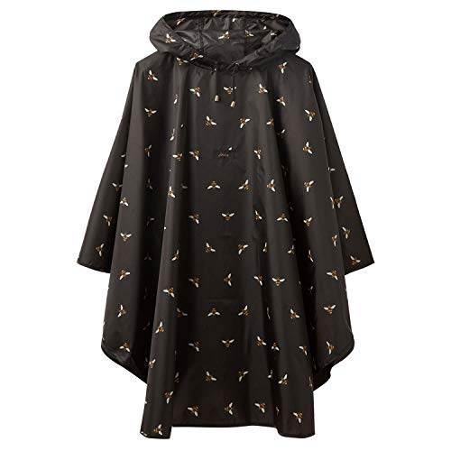 Joules Women's Poncho Showerproof Rain Cover-Up (Black Bee) (Best Rain Poncho 2019)