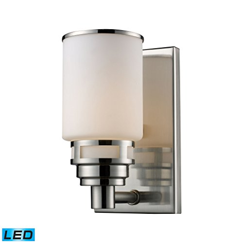 - Alumbrada Collection Bryant 1 Light LED Vanity In Satin Nickel And Opal White Glass
