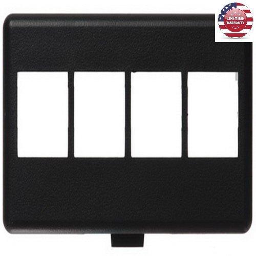 - 5 Pack X NetKey HD Keystone Modular Furniture Faceplates - 4 Port - Black - By Nexiron