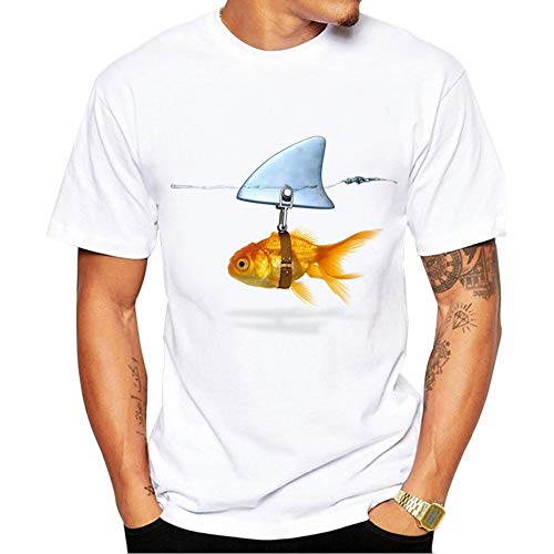 Newstrength Goldfish Shark Fin Print Short Sleeve Round Neck T-Shirt Men Casual Summer Top White M -