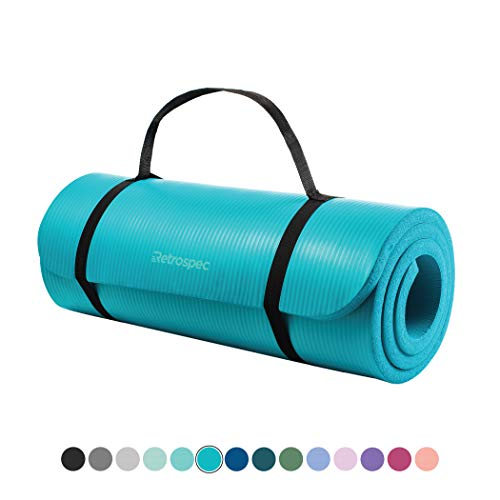 "Retrospec Solana Yoga Mat 1"" Thick w/Nylon Strap for Men & Women - Non Slip Excercise Mat for Yoga, Turquoise, 1 inch"