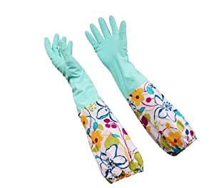 Uhome Flower Rubber Gloves Antiskid Household Laundry Dishwashing Cleaning Gloves Protect Your Hands,Blue flower