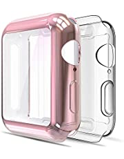 Simpeak [2 Packs] Soft TPU Case Compatible with Apple Watch SE Series 6 Series 5 Series 4 40mm, [All-Around] Full Protector Clear Bumper Cover w/ Touch Screen Protector Replacement for iwatch Series SE/6/5/4, Clear +Rose Gold