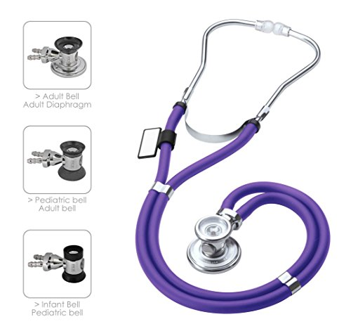 MDF Sprague Rappaport Dual Head Stethoscope with Adult, Pediatric, and Infant convertible chestpiece - Purple (MDF767-08)