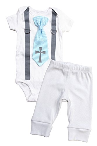 Cuddle Sleep Dream Baby Boy Baptism Outfit Cotton, Christening Outfits For Boys, Tie and Suspenders With White Pants (3 Month Short Sleeve, Blue Tie) (Outfit Dream)