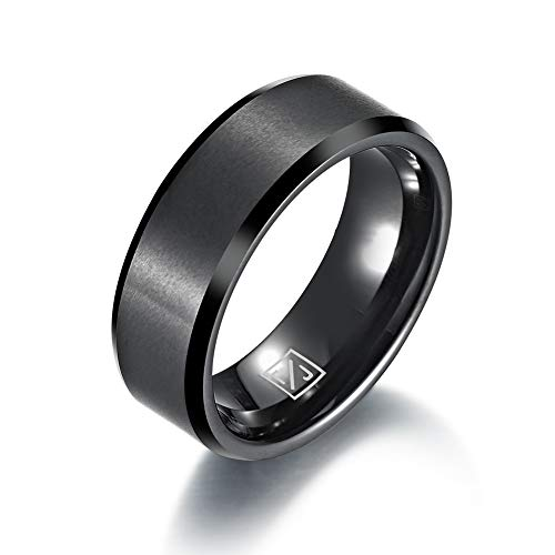 - Luxffield Black Tungsten Wedding Couple Bands Rings Men Women Matte Brushed Finish Center Engraved Size 10.5