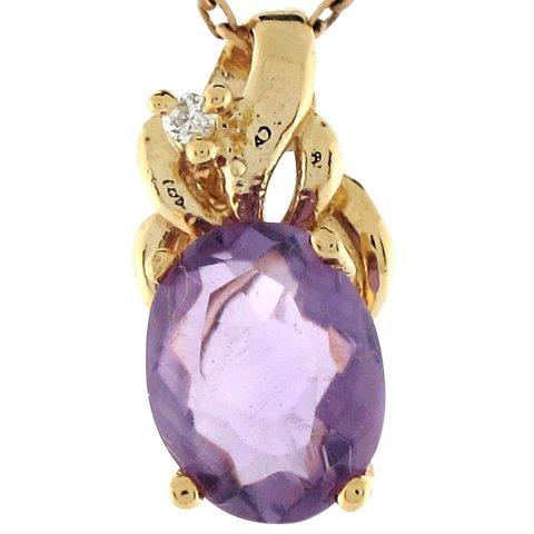 14ct Or Jaune Joli Pendentif 1.55cm Améthyste Ovale Et Diamant