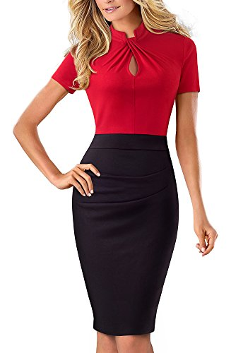 HOMEYEE Women's Short Sleeve Business Church Dress B430 (4, Red)