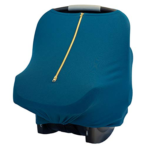 Baby Leaf Car Seat Cover with Zipper, Nursing Coverup, Carseat Canopy, Multi- Use Breastfeeding Scarf, Poncho   Stretchy Shopping Cart and High Chair Covers for Babies Boy and Girl   (Blue Sky) ()
