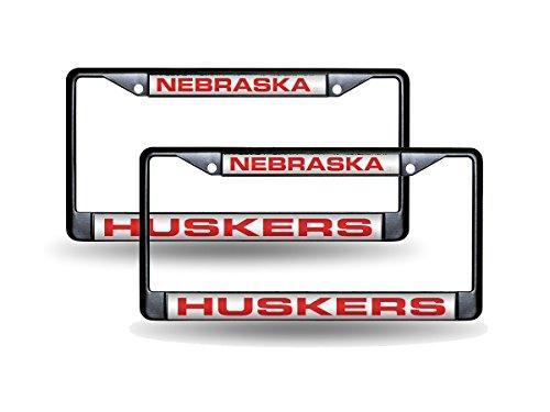 - Rico Nebraska Cornhuskers Black Metal (2) Laser License Plate Frame Set