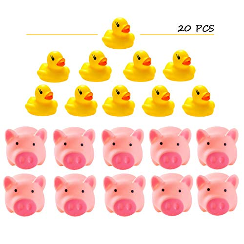 UKCG 20 Pieces Mini Bulk Baby Bath Toy Rubber Ducks and Rubber Pigs (10 Pcs Each Style) ()