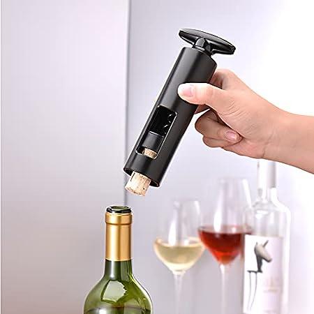 Fuobecie Abrebotellas de vino con sacacorchos, tirador de sacacorchos de tornillo manual dos en uno, abridor de vino que ahorra trabajo con broca de acero en espiral, cortador de papel de estaño
