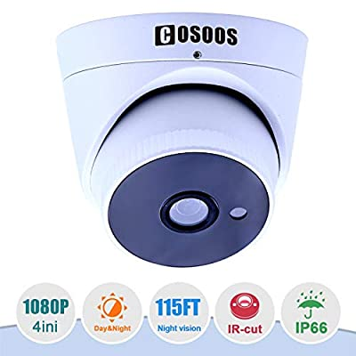 COSOOS 1080P 1920TVL Bullet Security Camera 4in1 and Security Surveillance Warning Sign from COSOOS