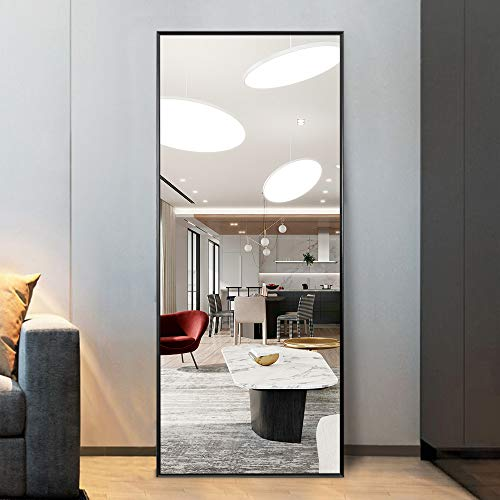 """ElevensMirror Full Length Mirror Dressing Mirror 59""""x20"""" Large Rectangle Bedroom Floor Mirror Wall-Mounted Mirror Hanging Leaning Against Wall (Black)"""