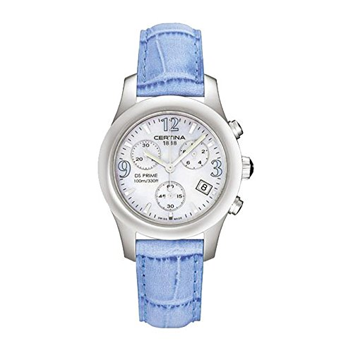 Certina Women's DS Prime 34mm Blue Leather Band Steel Case Quartz MOP Dial Analog Watch C538.7033.42.95