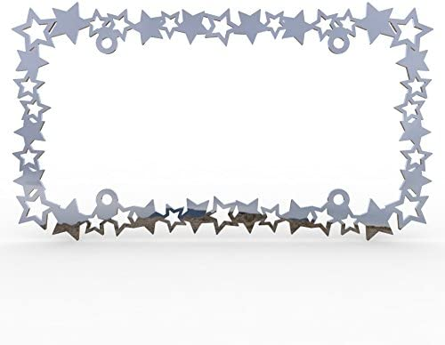 1 Piece LIC-118 Ferreus Industries Polished Stainless Chrome Car Truck License Plate Frame Star Stars Star