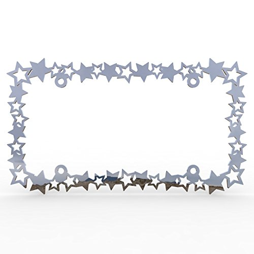 Ferreus Industries Polished Stainless Chrome Car Truck License Plate Frame Star Stars Star - 1 Piece ()